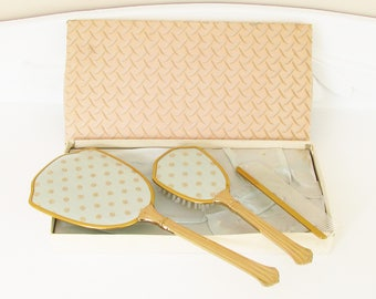 Vintage Blue Silk Gold Dresser Set Brush Hand Mirror Comb in original box New Old Stock