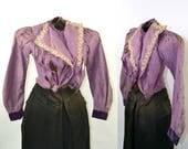 1880s/1890s Victorian Purple Silk Jacket, Estate Fresh, Study Piece, Photo Prop, Shredded Silk