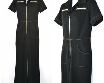 1970s Black Short Sleeve Jumpsuit, One Piece, White Zipper Accents
