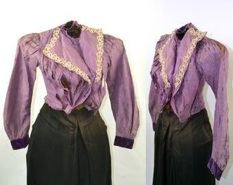 1880s/1890s Victorian Purple Silk Jacket, Estate Fresh, Study Piece, Photo Prop