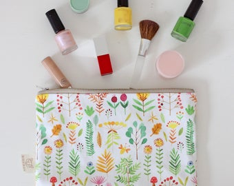 Zipper Pouch Zipper Bag Makeup Bag Stationery Bag Pencil Bag Floral Design
