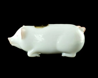 Vintage Westmoreland Milk Glass Pig with Hand Painted Pink Accents and Original Foil Sticker