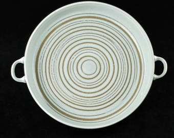 Vintage Marshall Studios Mid Century Modern White Handled Serving Bowl with Incised Circular Pattern