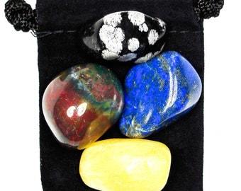 MENTAL RELAXATION Tumbled Crystal Healing Set - 4 Gemstones w/Description & Pouch - Bloodstone, Calcite, Lapis Lazuli, Snowflake Obsidian