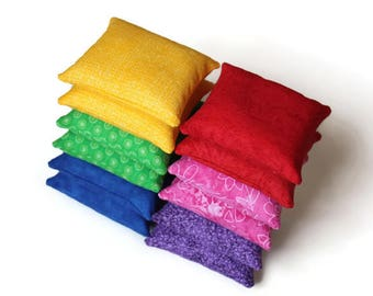 Double Rainbow Bean Bags (set of 12) Educational Yellow Green Blue Purple Pink Red Toss Game Homeschool Child's Toy - US Shipping Included