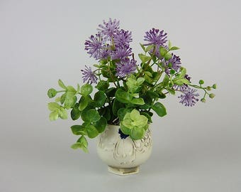 Handmade pot with Artificial Plants / Small White Cup with Purple Wild Flowers