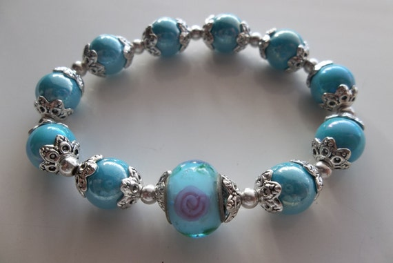 Light Blue Pearls with European Center- Fashion Jewelry-Beaded Stretch Bracelet- Woman Bracelet (97)