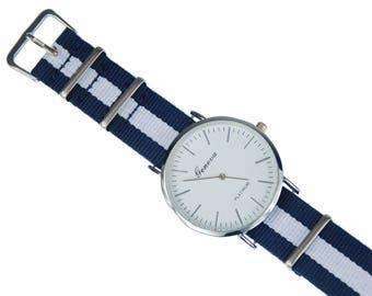 Men´s Women´s Watch Women menMiniblings textile white dark blue silver