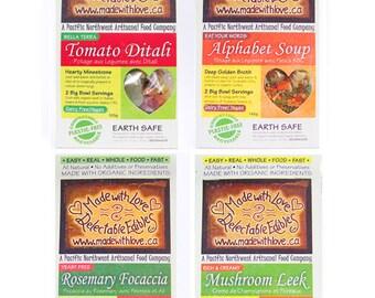 Four Artisan Magic Meals - Eco Gift - Food - Edible Gourmet Gift Set -  DIY Bread Mix - Soup Mix - Magic Meal Mixes Kit - Organic Market