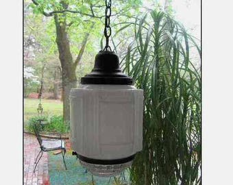 Vintage Art Deco Milk Glass/Pressed Glass Hanging Ceiling Light Fixture, Foyer Stairwell Porch, Black Holder Chain Cord, Schoolhouse Type