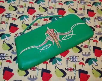 Vintage Lime Green Pinstriped Purse 50s 60s Custom Handbag