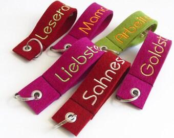 Key chain, wool felt, embroidery