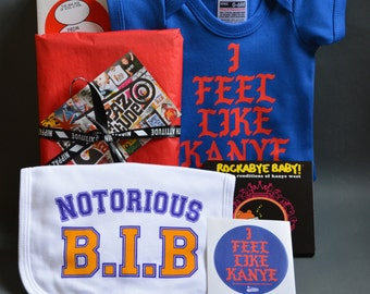 Kanye West Fun Baby Gift Box - I Feel Like Kanye Baby Onesie, Notorious B.I.B. Kanye Lullaby CD, Sticker & Greeting Card - New Dad Gift