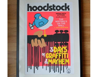 OFFER! Hoodstock - Woodstock Music Festival poster, street art / pop art inspired graphic art print Limited Edition & signed - electric pink