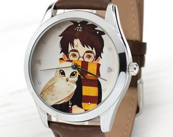 Harry Potter Watch   Book Lover Gift   Sister Gift   Leather Watch   Gift for Brother   Art Watch   School Graduation Gift   FREE SHIPPING
