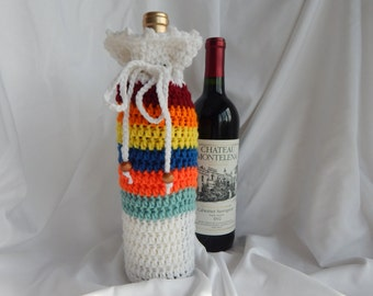 Wine Bottle Cover - Crochet Wine Cozy -  Green Orange Blue Yellow Burgundy with Wood Beads