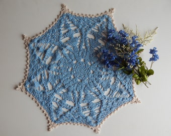 Crochet Doily Centerpiece Blue Star with Off White (Ecru) Trim