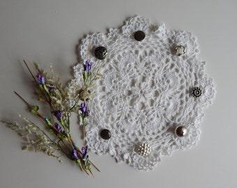 Crochet Doily - White with Silver Button Art Deco Design - Round