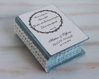 Personalized wedding box, Wedding Ring Box, Rustic ring bearer box, Gray ring box, Ring Bearer Pillow, Engagement box Wedding Ring Holder