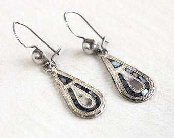 Abalone Dangle Earrings Mexican Sterling Silver Dangle Drops Vintage Lucky Horseshoe Tear Drop
