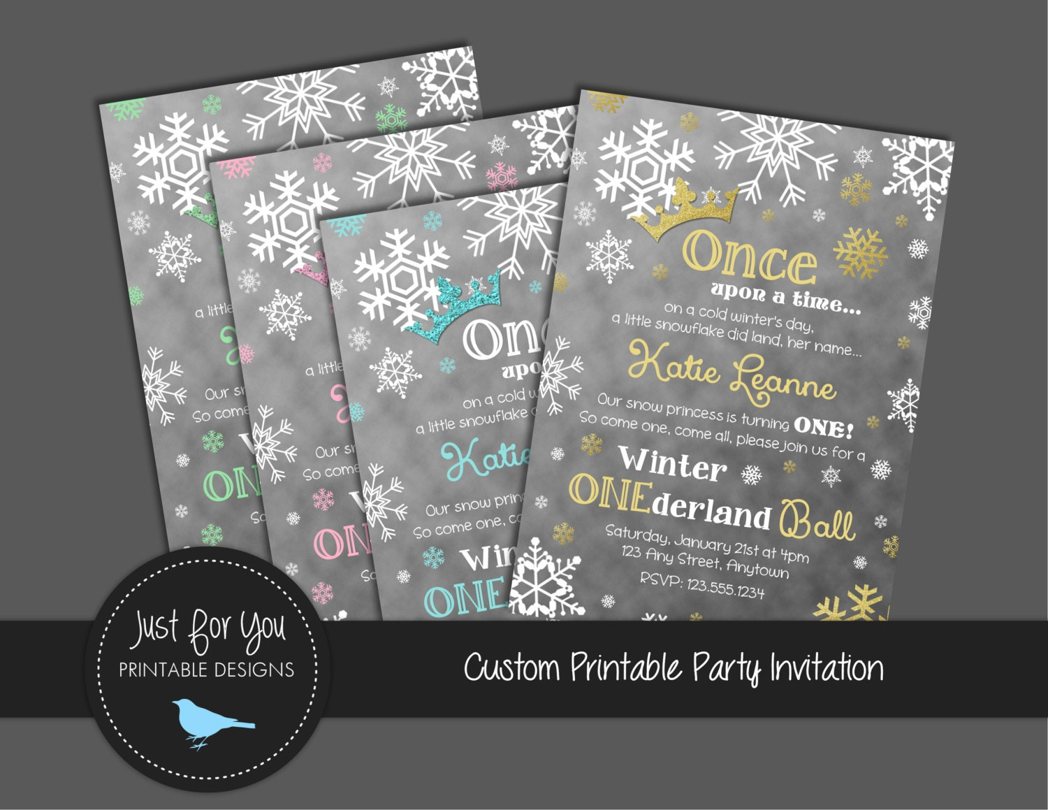winter onederland snowflake ball birthday party invitation turquoise pink mint gold silver you print custom printable diy invite - Winter Onederland Party Invitations