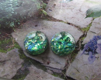 Czech 15mm Green Opal Glass Cabs 2Pcs.  Lampworked cabs