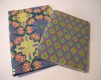 Turquoise, Pink, Green, and Metallic Gold Whimsical Journal Notebooks: Set of Two Journals Handmade Books