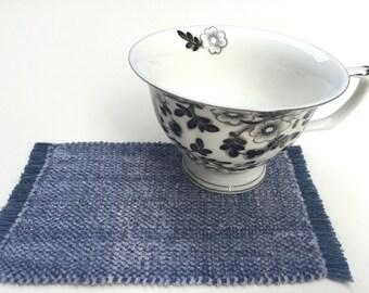 Elegant Handwoven Silver Gray Velvet Chenille Mug Rug Coasters, Dollhouse Rugs