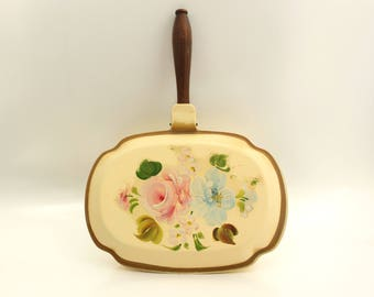 Hand Painted Silent Butler, Nashco Silent Butler, Cottage Rose Floral, Hand Painted Tole, Yellow Floral Silent Butler, Toleware