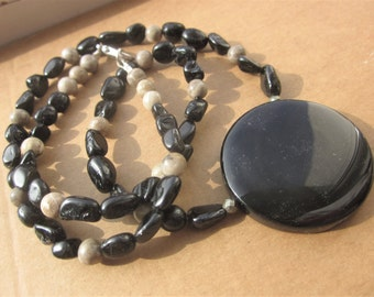 Obsidian Mirror black Tourmaline fossil Coral Necklace