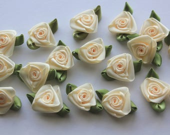 Satin Ribbon Roses - Ivory with Moss Green Leaves