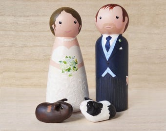 Bride & groom and guinea pigs wedding cake topper - with bespoke hand sculpted clay guinea pigs or other small pets