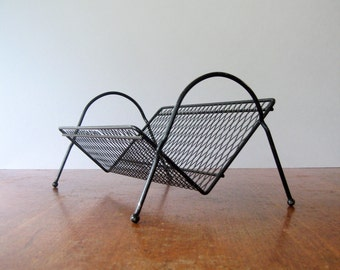 Mid Century Free Standing Tilted Perforated Metal Book Shelf