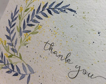OOAK Blues and Yellow Thank You Greeting Card