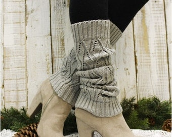 Leg Warmers, WINTER, black friday, cyber monday, sale, gifts, christmas, , knit, knitted, women, slouch, boots, cuffs, SILVER GREY | LW0