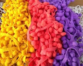 Pom Poms/3 yards Pom Pom/Mustard yellow PomPoms/Lavender Pompom Trim/Coral Pompom Trim/Curtain Trim/Blanket Pompom