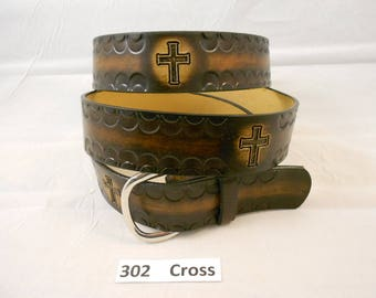 Christian Cross Leather Belt, Jesus, USA HandCrafted Religious Design