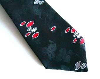Vintage Black Tie Rockabilly Swing attire retro kitsch Atomic age design mens vintage fashion Anderson Little red Gray Oval Leaf pattern