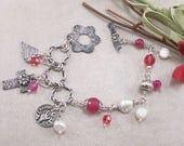 Ruby Jade, Swarovski Crystal, Freshwater Pearl, Sterling Silver Bracelet w/ Metal Clay Toggle & Charm