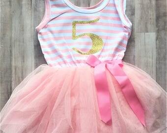 5th Birthday Tutu Dress / Birthday Outfit Girl, Toddler Dress, Baby Girl Dress, Birthday Dress, Birthday Girl, Tutu Dress, Girl Clothing