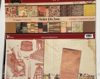 """7 Gypsies Gypsy Mixed Media Pad, 12X12"""", Ordre Du Jour, with 2 fabrics and 2 specialty papers included for scrapbooking, art journaling"""