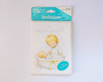 Christening Invitations, Vintage Invitation Cards, American Greetings, Vintage Illustration Angel and Baby, Baptismal, Ephemera