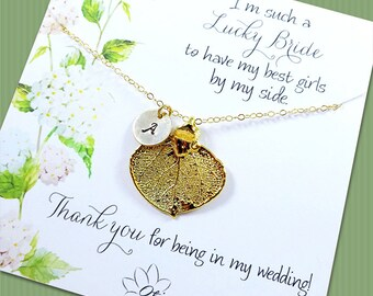 Personalized Bridesmaid Asking Gifts, Gold leaf necklaces on message cards, Spring, fall wedding, Bridesmaid thank you, real leaf jewelry