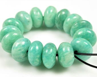 Natural African Amazonite Rondelle Bead - 9.5mm x 5mm - 15 beads - B6808