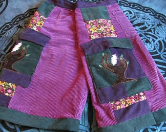 custom patchwork Grateful Dead roses and bolts shorts