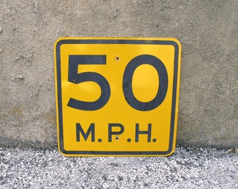Road sign Speed Limit Sign 50th birthday party 50 Anniversary Gift Kids Room Black Orange Urban Wall Decor Highway Traffic Street Sign