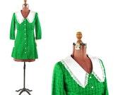 Vintage 1960's Bright Green Floral Print Baby Doll Preppy Shift Scooter Mini Mod Retro Dress Set S NOS