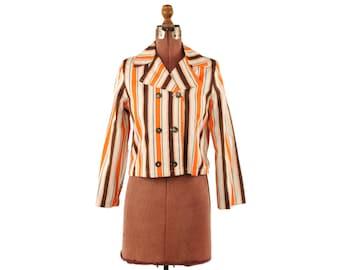 Vintage 1960's Brown + Orange Mod Pin Stripe Mini Cropped Cotton Twill Blazer Coat Jacket S M