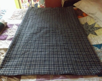 """6 2/3 yards of blue and beige or ivory plaid homespun fabric.  44"""" No holes, stains, odors.  Country crafts, curtains, skirts, shawl, etc."""