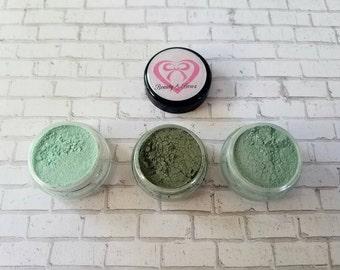 Green Eyeshadow trio, Green makeup, bridal make up,wedding make up,  handmade make up,  eyeshadow trio, St. Patrick's Day